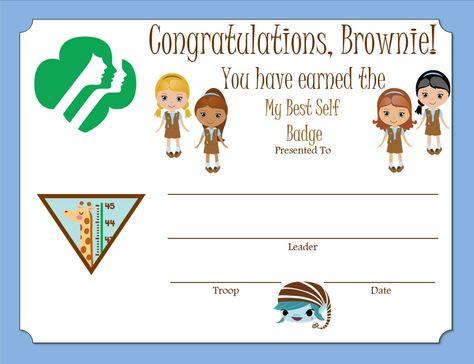 Brownie My Best Self Badge Certificate