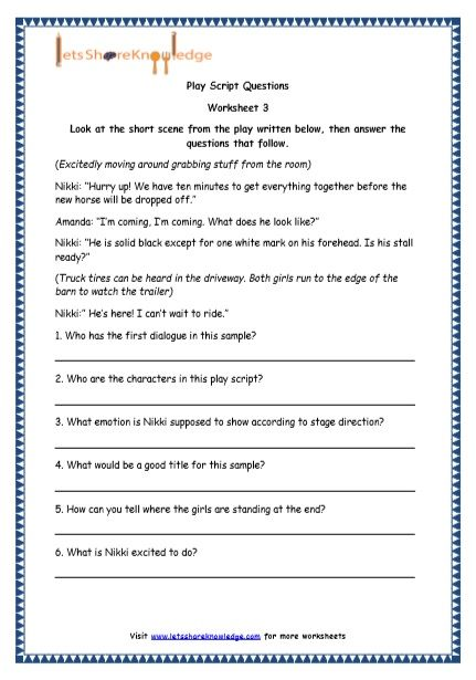 Grade 4 English Resources Printable Worksheets Topic Play Script Writing Prompts For Kids Kindergarten Worksheets Sight Words First Grade Worksheets 9th grade language arts worksheets