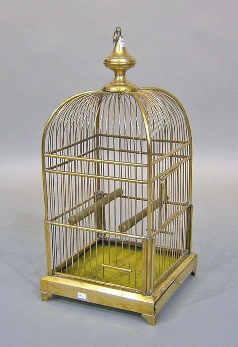 "Large brass birdcage, 20th c., 35"" h."