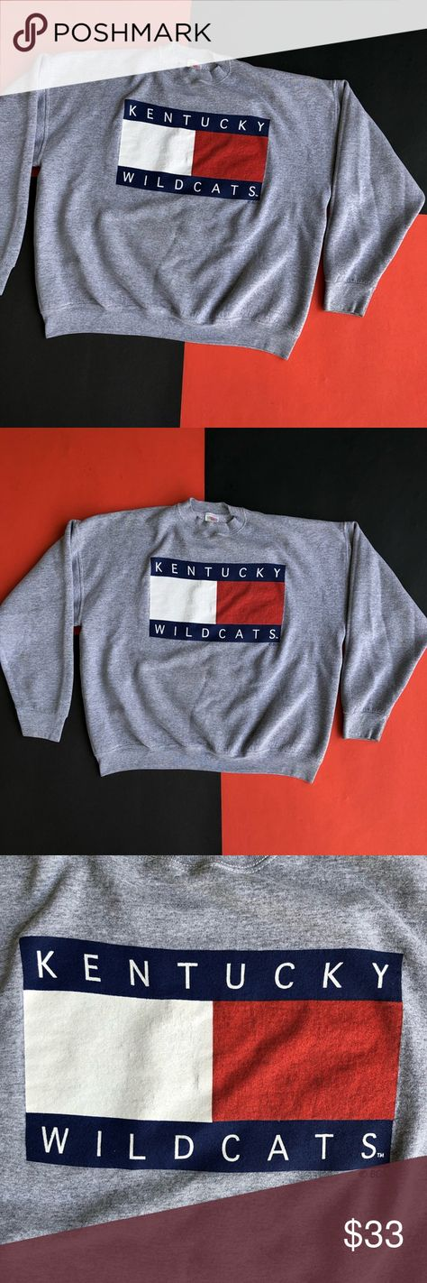 ee4313ef77 VINTAGE KENTUCKY WILDCATS TOMMY FLAG CREWNECK * Vintage 90s Made in USA  Fruit of the Loom