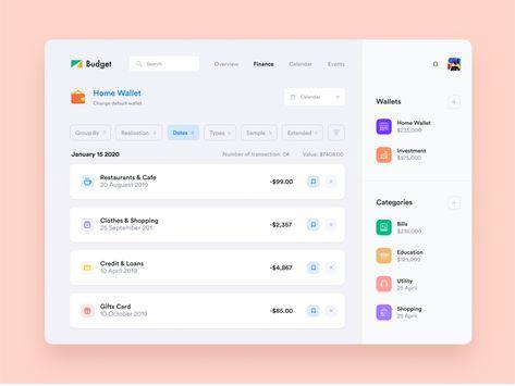 Finance Budget Web Application Design