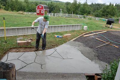 Flagstone Patio. Pour Concrete, Carve Stone Shapes. | Q : L : Paths U0026  Edging | Pinterest | Concrete, Stone And Flagstone