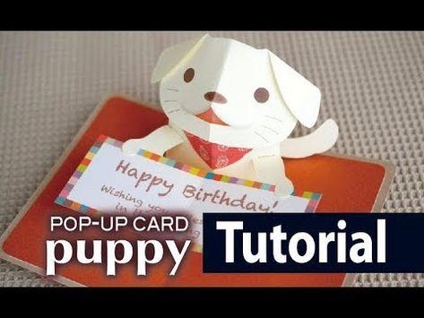 Tutorial Puppy Pop Up Card Youtube Pop Up Cards Dog Pop Card Tutorial