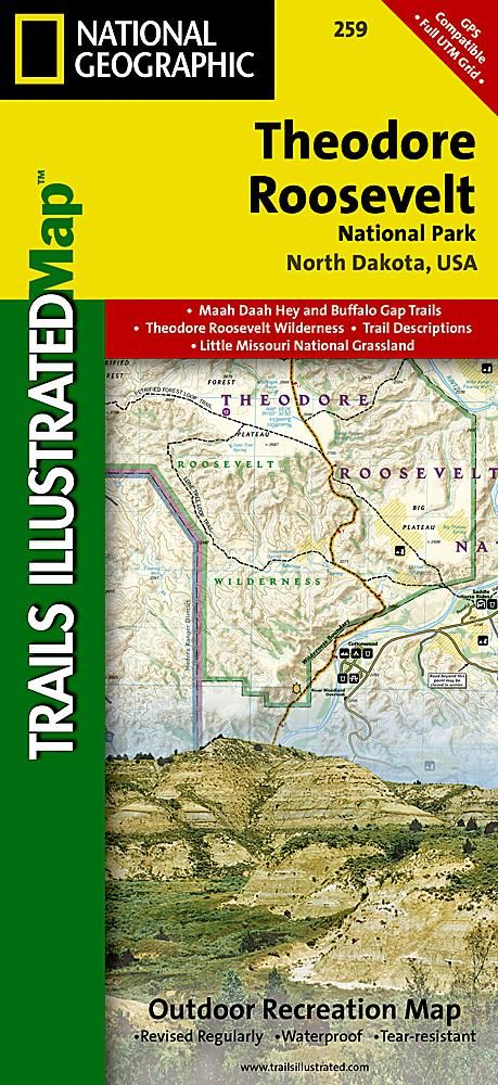 Theodore Roosevelt National Park Maah Daah Hey Trail Map 259 by