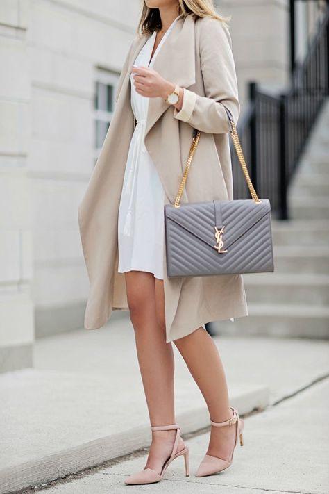 Trendy Women's Purses : Dress: Aritzia // Coat: Club Monaco (similar) // Bag: Saint Laurent // Shoes: 424 Fifth Sunglasses: Urban Outfitters // Watch:…