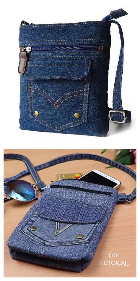Denim Bag Patterns, Bag Patterns To Sew, Sewing Patterns, Fabric Patterns, Patchwork Patterns, Patchwork Bags, Clothing Patterns, Recycle Jeans, Diy Jeans