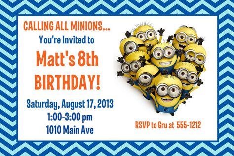 minion birthday party invitation: printable 4x6 or 5x7 | party, Birthday invitations