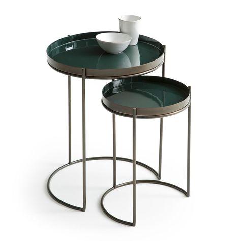 Des Tables D Appoint Gigognes Vert Sapin Bout De Canape Table