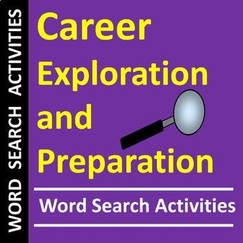 Career Exploration Preparation Word Search Activities Distance