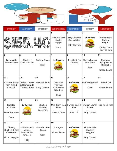 Free Printable Menu And Grocery List  A Month Of Meal On A Budget