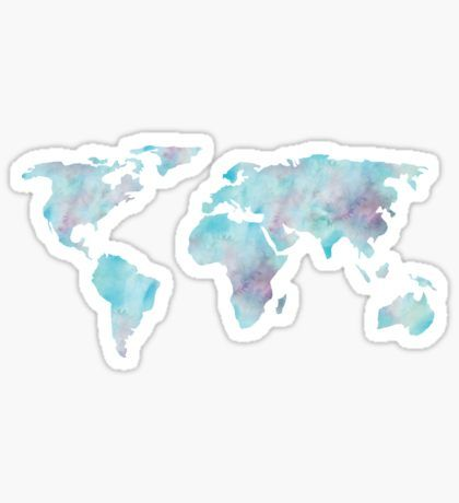 Wanderlust Stickers Watercolor Stickers Coloring Stickers Blue