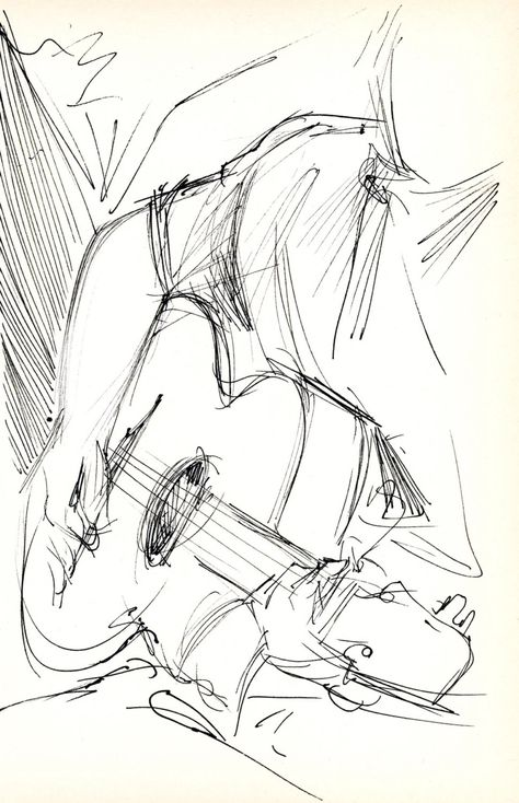 "Guitarist - Original Pen & Ink Sketch - Archivally Matted and Mounted for Standard 8x10"" Frame by FallenLeavesFineArt on Etsy"