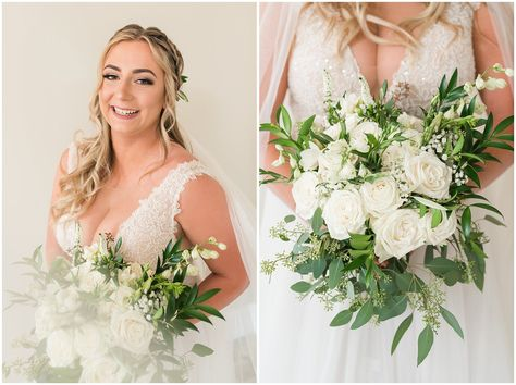 Champagne wedding dress with lace bride holding white floral bouquet | Sage Green and Gray Summer Wedding at Oak Hills | Jessie and Dallin Photography #utahwedding #utahweddings #utahweddingvenue #utahweddingvenues #utahweddingvendors #utahweddingphotography #utahbride #utahbrideandgroom #oakhills #mountainwedding #utahweddingphotographer #sagegreen #candidwedding #rockymountainwedding
