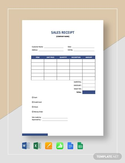 Blank Sales Receipt Template Free Pdf Word Excel Apple Pages Google Docs Google Sheets Apple Numbers Receipt Template Financial Apps Free Receipt Template