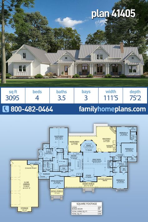 Well balanced modern farmhouse home plan has an unbelievable covered porch that has an outdoor kitchen and an outdoor fireplace. Almost 3100 square feet, four bedrooms, three full and one half bath, open floor plan, large office with private entrance, gourmet kitchen, split bedroom design, bonus room over garage, HUGE master suite closet and a large three car garage. Southern country style house plan with southern living in mind.