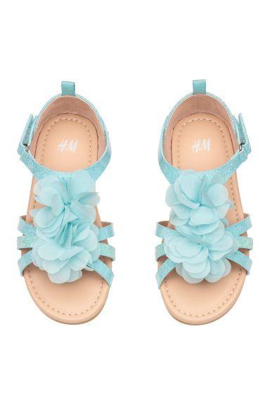 Sandaly Z Aplikacja Jasnoturkusowy Dziecko H M Pl Sandals Flower Sandals Light Turquoise