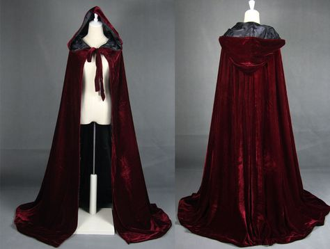 Wine red black velvet hooded cloak wedding cape Halloween wicca robe coat S-XXL in Clothes, Shoes & Accessories,Fancy Dress & Period Costume,Period & Theatre Costumes Witch Wedding, Wedding Cape, Wedding Veil, Vampire Wedding, Gold Wedding, Medieval Costume, Medieval Dress, Medieval Witch, Medieval Outfits