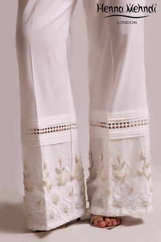 White Diamante Embroidered Trousers