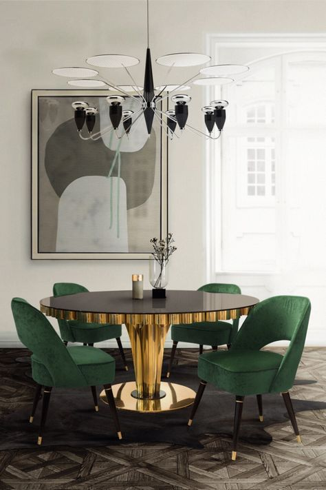 Inspired by the song New York, New York by Frank Sinatra, Sinatra Suspension Lamp incorporates the elegance and beauty of the song. Get this and much more inspiration at insplosion.com!  #inspirational #interiordesign #interiordesigninspiration #diningroominspiration #greenbrightdinningroom #luxurysuspensionlamp