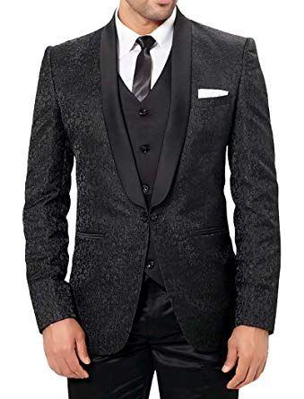 INMONARCH Mens Designer Black 6 Pc Party Wear Tuxedo Suit PW228