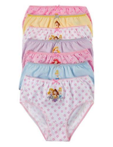 KIDS GIRLS EX M/&S 7 PACK DISNEY PRINCESS PANTS COTTON BRIEFS PRINTED UNDERWEAR