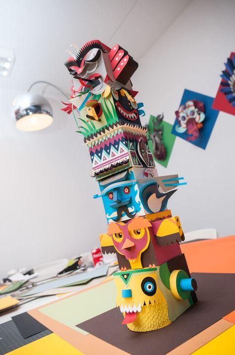 Paper Totem by INK studio , via Behance