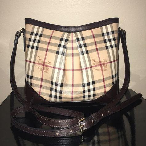 Burberry Haymarket Check Crossbody Bag Authentic Burberry medium crossbody  bag styled with an inverted center pleat and adjustable shoulder strap. a3a17d93baa84