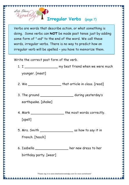 Grade 3 Grammar Topic 39 Irregular Verbs Worksheets With Images