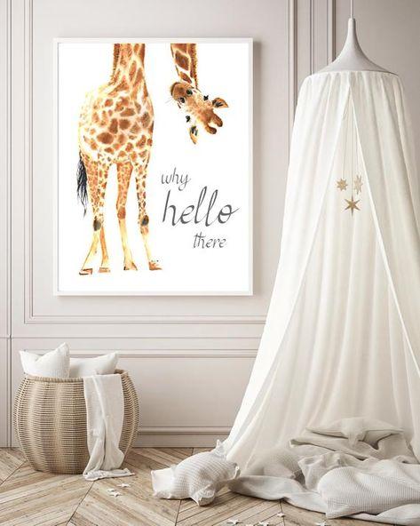 Giraffe Print, Giraffe Wall Art, Giraffe nursery decor, Hello there quote, Nursery safari print, Bab