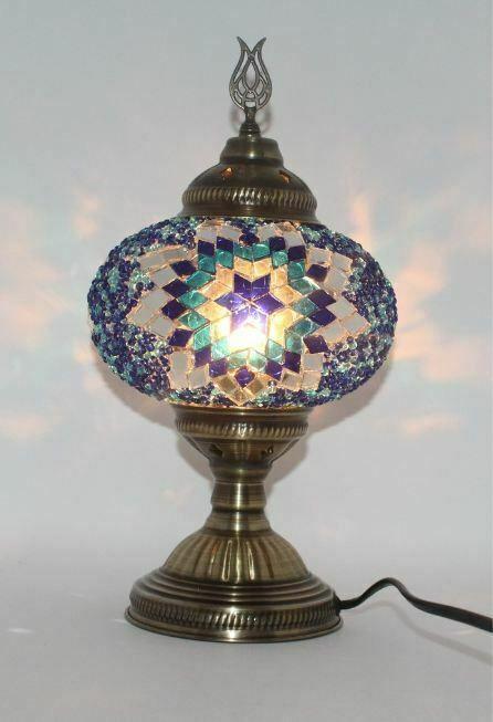 Table Mosaic Lamp Turkish Moroccan Large Glass Handmade Multi Color Decor Blue J Handmade Antiquemosaicturkishmorrocan