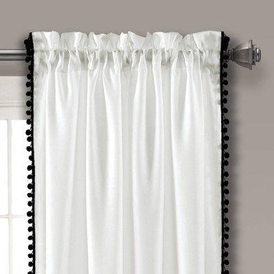 50 X84 Pom Pom Window Curtain Panel Black Lush Decor In 2020 Rod Pocket Curtain Panels Panel Curtains Rod Pocket Curtains