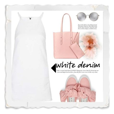"""""""White Denim Dress"""" by conch-lady ❤ liked on Polyvore featuring Topshop, Aspinal of London, Joshua's, Linda Farrow, whitejeans, whitedenim and whitedenimdress"""