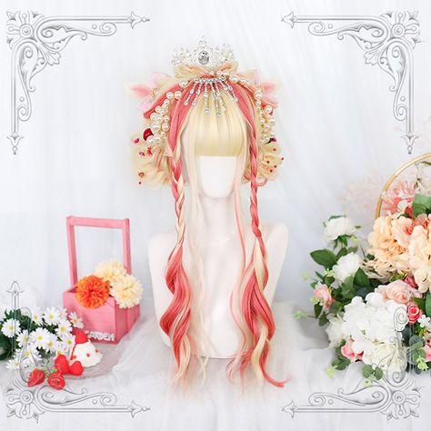 26.3in Orange Girl Wig-LOLITA-COSPLAY Wig-Medium Long Hair-Performance-Cute-domineering lady-Gentle-Elegant-Japanese-Hat-Manga-Headband