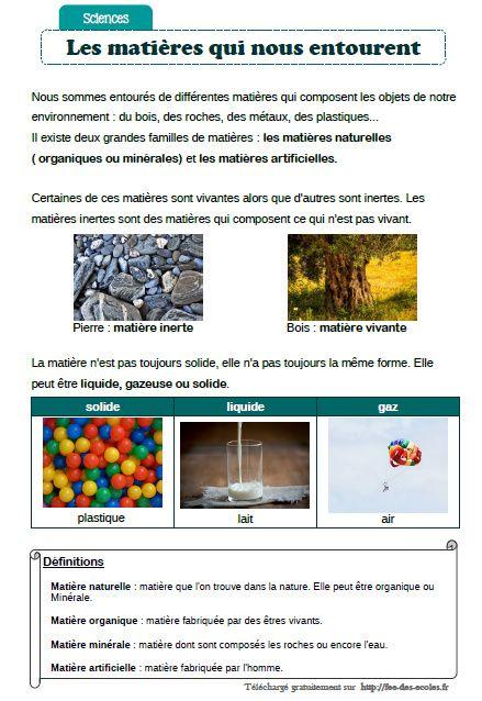 Les Matieres Qui Nous Entourent Cm1 Cm2 Fee Des Ecoles Sciences Cm1 Cm1 Cm2 Cm1