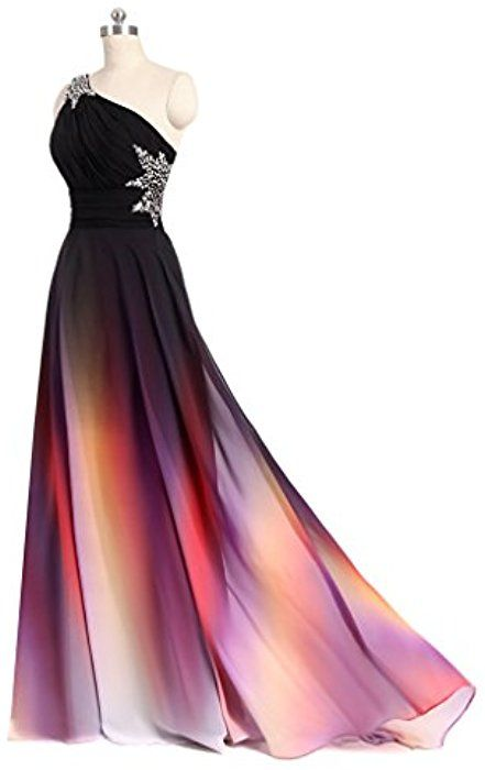 4cf1b792bb56 Angela One Shoulder Ombre Long Evening Prom Dresses Chiffon Wedding Party  Gowns As Picture 2 at Amazon Women's Clothing store: