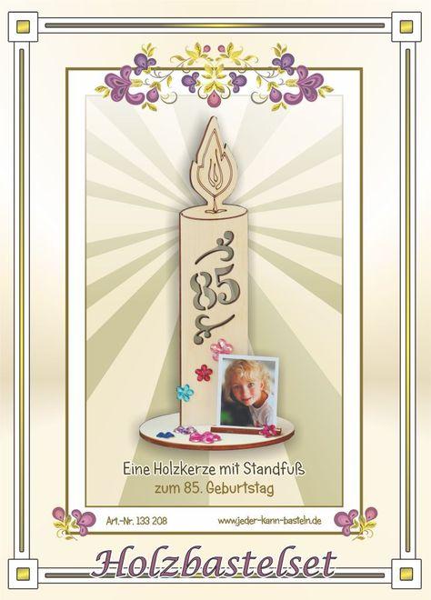 Diy Holzkerze Zum 85 Geburtstag Wood Candle Bastelideen