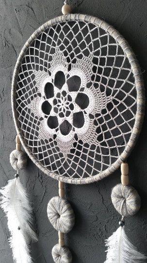 Gray White Beige Blue Dream Catcher Crochet Doily Dreamcatcher large dreamcatcher boho dreamcatchers
