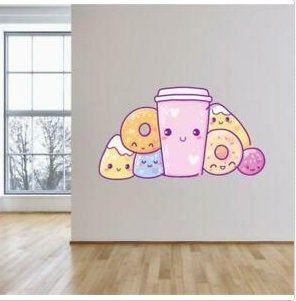b69 Kawaii Sweets//Donuts Coffee Wall sticker-Vinyl