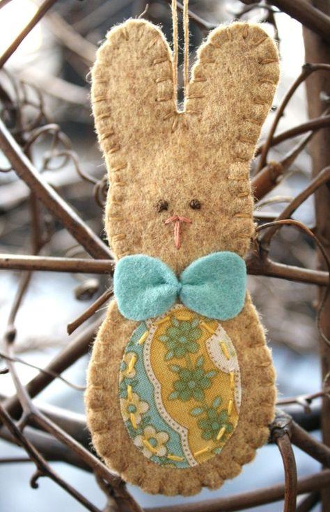 bow tie bunny easter rabbit felt ornament spring decoration $12.00