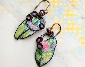 Green Enamel Copper Teardrop Earrings Long Oval Artistic Wire Earrings Handmade jewelry White Green Rustic Copper Torch  Enameled earrings