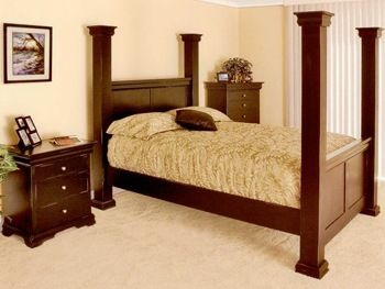 Wollersheim 4Post Bed handmade in Cherry Oak Pine more