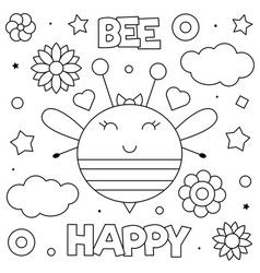 Bee Happy Coloring Page A Vector Bee Coloring Pages Coloring Pages Ballerina Coloring Pages
