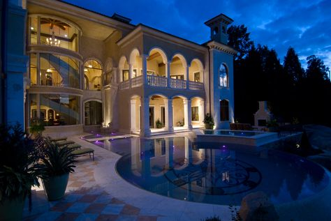 Mansion with pool at night  Pin by JS Young on Luxury Dream Homes | Pinterest | House