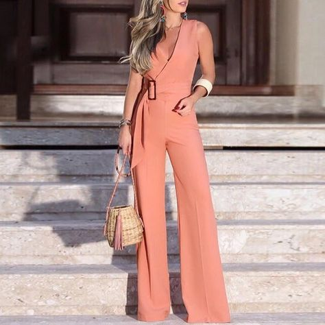 Gift Day Strap Solid Color Sleeveless V-Neck Wide Leg Jumpsuit#casual