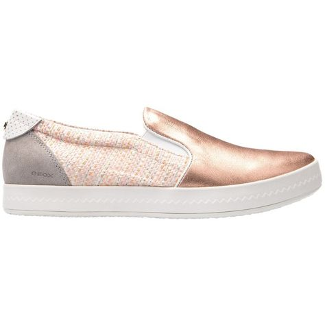 fbcc1d21cb341 Geox Modesty Flat Slip On Trainers, Rose Gold/Peach ($135) ❤ liked on  Polyvore featuring shoes, sneakers, perforated sneakers, flat slip on shoes,  ...