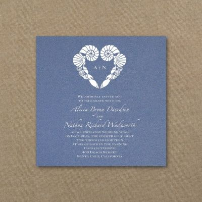 Blue and White Wedding Ideas - Seaside Silhouettes - Imperial Invitation - Sapphire Shimmer | Occasions In Print, LLC (Invitation Link - http://occasionsinprint.carlsoncraft.com/Wedding/Wedding-Invitations/3214-MM1332531117-Seaside-Silhouettes--Imperial-Invitation--Sapphire-Shimmer.pro)