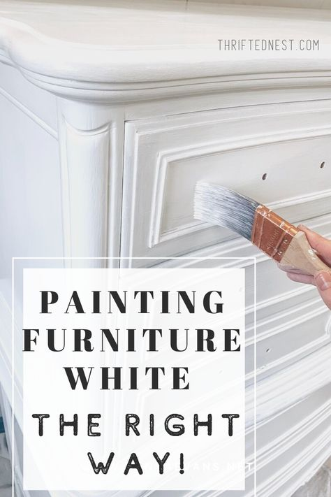 Want to paint furniture white with no brush strokes? Watch step by step how I re. - Want to paint furniture white with no brush strokes? Watch step by step how I refinish a dresser with white paint. Painting furniture white is a great. White Painted Dressers, White Painted Furniture, Refurbished Furniture, Diy Old Furniture Makeover, Dresser Furniture, How To Repaint Furniture, Old Dresser Makeovers, Bedrooms With White Furniture, Diy Furniture Refinishing