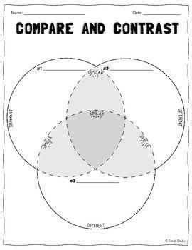 3 Circle Venn Diagram Compare Contrast Worksheet Compare And Contrast Compare Contrast Worksheets Venn Diagram