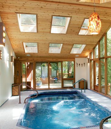 Pool Room Addition With Cedar Framing And Tiled Pool Looking Across Room Out The Back Door Small Indoor Pool Pool House Plans Room Additions
