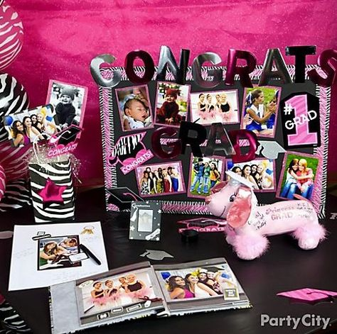 Ideas for a DIY graduation party memory table featuring photos of your grad.